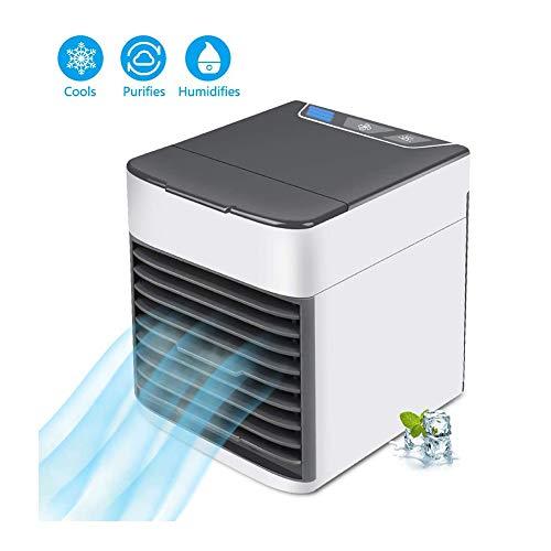LBWNB Mini Luftkühler, Tragbar Luftkühler 3 Leistungsstufen Tischventilator USB Kühler Mobile Klimageräte Luftbefeuchter Für Home Office Auto Im Freien