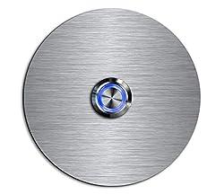 CHRISCK design - Edelstahl Türklingel Basic Ø 9 cm rund mit einem Klingel-Taster/LED Beleuchtung und schönen Dekorplatten aus Acrylglas Namensschild/Klingelplatte