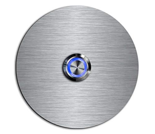 CHRISCK Design - roestvrij stalen deurbel Basic Ø 9 cm rond met een bel-knop/LED-verlichting en mooie decorplaten van acrylglas naamplaat/belplaat