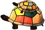 AWCVB Tiffany Style Plaque De Verre Teinté, Mère Et Enfant Turtle Shape Pépinière Lampe De Pépinière Style Européen Creative Cartoon Nightoon Lumière De Chevet en Fer Forgé,Multicolore