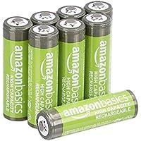 AmazonBasics - Juego de 8 pilas recargables AA Ni-MH (precargadas, 500 ciclos, 2500mAh, mínimo 2400mAh) - La cubierta exterior puede variar