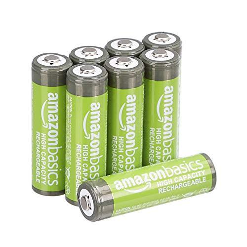 Amazonベーシック 高容量充電式ニッケル水素電池単3形8個パック(充電済み、最小容量 2400mAh、約500回使用可能)