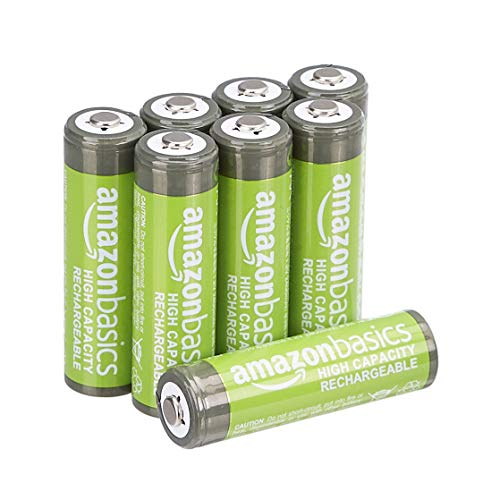 AmazonBasics - Batterie AA ricaricabili, ad alta capacità, pre-caricate, confezione da 8 (l'aspetto potrebbe variare dall'immagine)