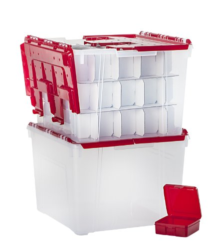 IRIS USA, WL-60 and MCC-130 Combo, Holiday Wing-Lid Box, Ornament Dividers, and Small Storage Box Combo, 60 Qt, Red, 1 Pack