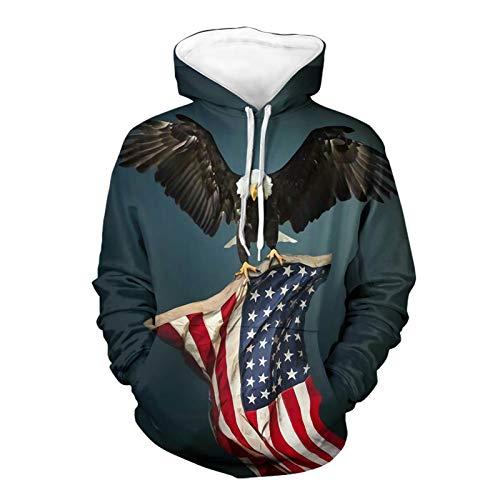 SEANATIVE Sudaderas patrióticas para hombres con diseños bandera estadounidense con águila manga larga película sudaderas con capucha 5XL negro