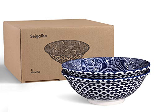 2 x Ramenschale aus Porzellan 20cm mit Blau/weißem Japanischen Seigaiha-Muster