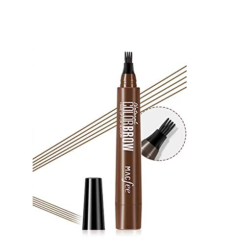 sourcil tatouage stylo crayon à sourcils liquide avec quatre conseils 4 couleurs longue durée Waterproof à l'eau sans bavure stylo à sourcils (02Dark brown)