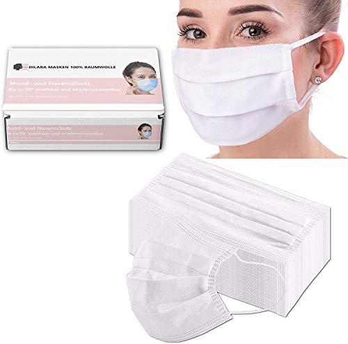 Dilara Premium Masken Vorteilspaket aus 100% Baumwolle - Wiederwendbar und Waschbar bis 95 Grad, Weiß (5 Stück)