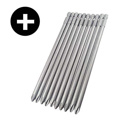 Wolfride 10pcs PH2 Long Magnetic Phillips Driver Bits 1/4 Inch Hex Shank Phillips Head Drill Bit Set Cross head screwdriver bits |5.9 Inch Length