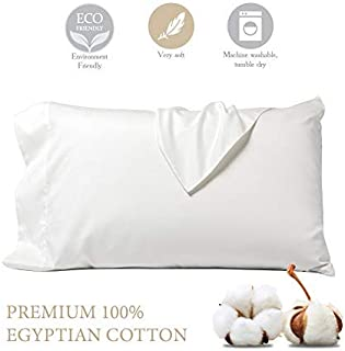 STWIENER 1,000 Thread Count Pillow Cases 100% Cotton Silk Feel Satin Weave Standard Pillowcases Set of 2, Luxury Hotel Quality (Ivory 20