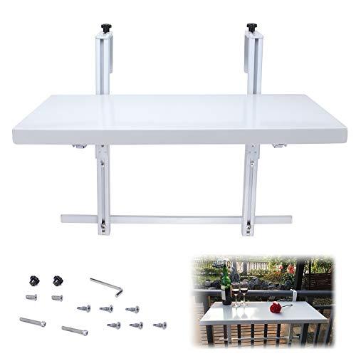 Muzata Balcony Railing Table,Lightweight Folding Table, Adjustable Deck Hanging Table Suitable for Bar,Deck Railing, Terraces,23.6in×11.8in,White Powder-Coated,M022