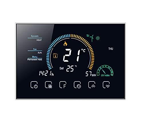 T-Storm TS-TH-8RCF4W-K Termostato Smart Wi-Fi de 2 a 4 Tubos con Pantalla LCD a Color Compatible con Caja 503-Compatible con Alexa, Google Home e IFTTT, Negro