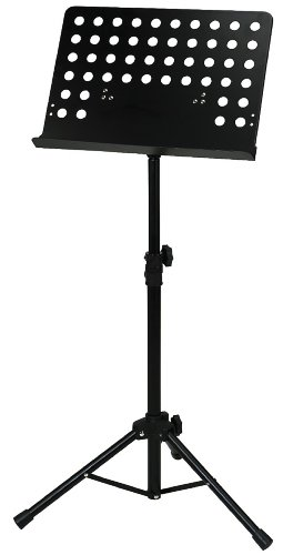 Orchesterpult, schwarz, Metall, schwarz, zusammenlegbar, Platte gelocht, abnehmbar, Rohrverbindung, Höhe: 67 x 120 cm