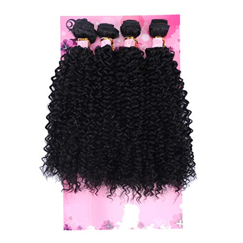 FRELYN Kinky Curly Hair Bundles Synthetic Hair Weave Bundles Black Color 18 18 20 20 Inches 4 Pieces Heat Resistant Fiber Soft as Human Hair Weave