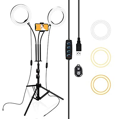 Selfie Ring Light with Tripod Stand and Phone Holder for iPhone Laptop Computer, LED Circle Lighting for Camera Video Conference, TIK Tok, Zoom, Recording, YouTube, Webcam, Vlogging, Makeup, Photo