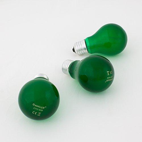 Set 3 x Farbleuchtmittel A19 230V / 40W zur Partybeleuchtung, Sockel E-27, grün - farbige Glühbirne - showking