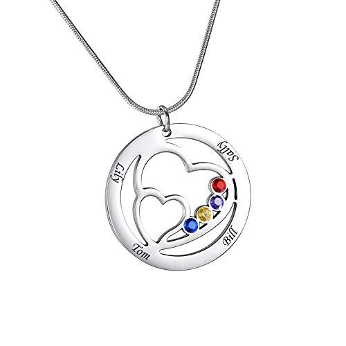 HooAMI Personalisierte Kette Herzform Namenskette~Mit Geburtsstein Familienkette Mit Gravur Halskette Mit 4 Wunschnamen