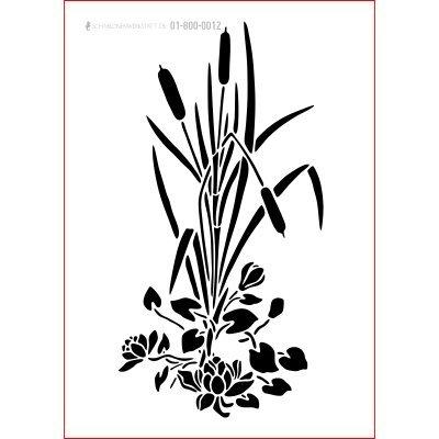 graphits Schablone Shabby Chic Kreativbaukasten maritim, 01-800-0012, Schilf Pflanze als Wandschablone, Textilschablone, Möbelschablone, Keilrahmengestaltung und Deko, Größe anpassbar