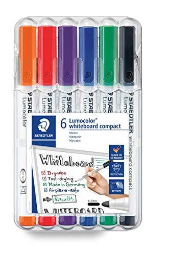 STAEDTLER 341 WP6 whiteboard compact Lumocolor (Universalspitze für variable Strichbreiten (ca. 1 - 2 mm), trocken und rückstandsfrei abwischbar, schnelltrocknend, hohe Qualität, ideal für Memoboards)