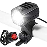 Bike Lights Set, USB Rechargeable Bicycle Lights Bright Front 1200 Lumen LED Head Torch Headlamp Waterproof with Battery Pack and Free Safety Taillight Included, Mountain Cycling Safety Accessories