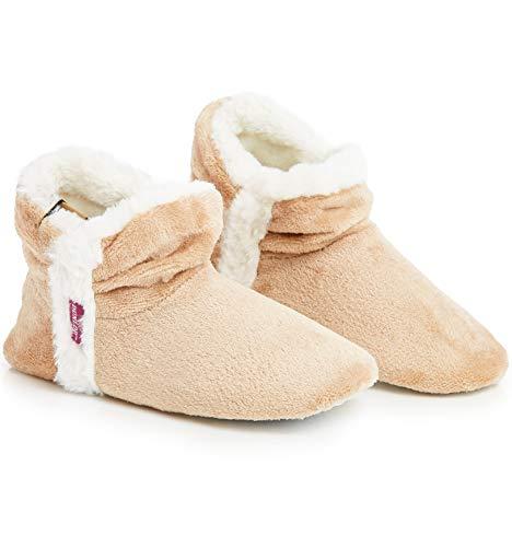Dunlop Zapatillas De Estar En Casa Altas para Mujer, Botas Pantuflas Cerradas Invierno, Interior Suave Peluche con Suela de Goma Antideslizante, Mujer (39 EU, Beige)