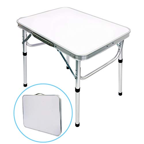 Camp Field Aluminum Folding Small Picnic Table, Adjustable Height Lightweight Portable Camping Table for Picnic Beach Outdoor Indoor (Medium)