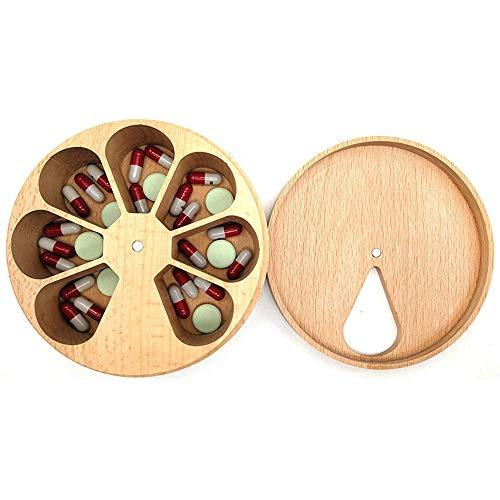 Organizador De La Caja De Pastillas, Caja De Píldoras De La Tableta Giratoria De Madera Portátil De 7 Días Contenedor Multi-Compartimento, para Suplementos Vitamínicos