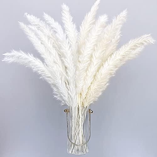 30 piezas de pampas secas naturales blancas artificiales 40 cm Boho decoración...