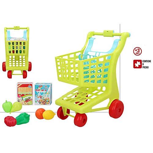 Hogar y Mas Carrito De La Compra Juguete Niños, con 8 Piezas. Diseño Colorido, con Estilo Infantil, Juguetes Infantiles. 29cm X 35cm X 50cm