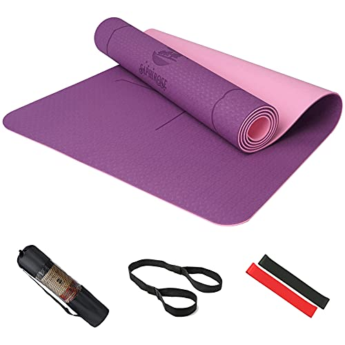 SaphiRose Non-Slip Yoga Mat with Alignment Lines TPE Home Fitness Eco-Friendly Exercise & Workout Mat with Carrying Strap Types of Yoga Purple+Purple