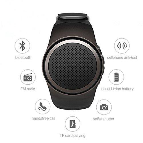 Hinmay - Altoparlante Bluetooth indossabile a forma di orologio, multifunzione, per l'attività sportiva. Lettore per schede di memoria per MP3, Radio FM, vivavoce, strumento per selfie