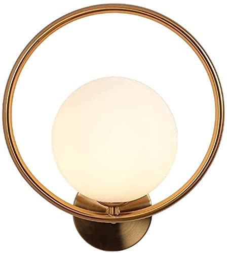 Applique da parete Lampada da parete a globo in vetro bianco Oro Mid-Century Stile moderno Lanterna da parete Apparecchi di illuminazione per interni Lampada da parete per camera da letto Soggiorno In
