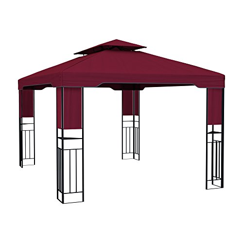 paramondo Deluxe Gartenpavillon wasserdicht, 4 x 3m, Bordeaux