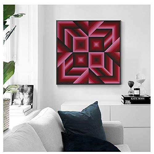 Sanwooden Victor VASARELY Poster Geometrie Abstrakte Leinwand Malerei Wanddekorative Kunst Bilder für Wohnzimmer Wohnkultur -50x50cm Kein Rahmen