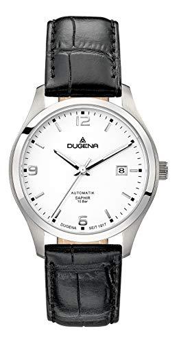 Dugena Herren Automatik-Armbanduhr, Saphirglas, Lederarmband, Tresor, Schwarz/Silber, 4460911