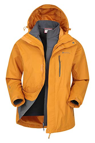 Mountain Warehouse Bracken Wasserfeste 3 in 1 Herren Winterjacke,mit Warmer Fleecejacke, Regenjacke, Herrenjacke, Funktionsjacke, Allwetterjacke, Doppeljacke, Winter Dunkelgelb S