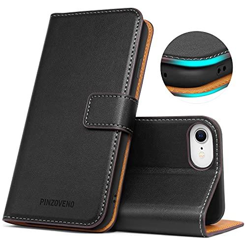 Pinzoveno Hülle für iPhone SE 2020 iPhone 8 hülle iPhone 7 Handyhülle Premium PU Leder Schutzhülle Abdeckung Magnetverschluss Flip Hülle Tasche Brieftasche Etui für iPhone SE 2020/8/7(4,7 Zoll) Schwarz