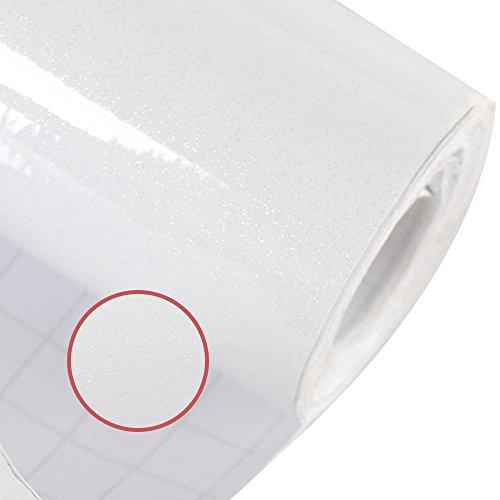 HDM 5M * 61CM (L * B) Pellicola adesiva in PVC spessa - Pellicola autoadesiva idrorepellente decorativa per mobili fai da te Ristrutturazione Mobili da cucina, bianco con glitter su superficie