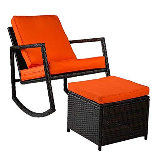 Furniture Patio Wicker Swing Armed Outdoor Footstool Wood Chair Rattan Rocker Garden Lounge household products