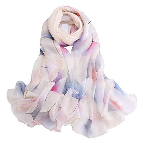 Xingling 100% Seide Chiffon Print Größe Schal/Schal/Strand Sonnencreme, Anti-allergische Mode qualitativ hochwertige Schal 170 * 110cm,BLCE-01