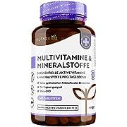 Multivitamine & Mineralien - 365 vegane, hochdosierte Tabletten - Jahresvorrat - getestet und zertifiziert in Deutschland - Multivitamintabletten mit 26 essentiellen aktiven Vitaminen & Mineralien