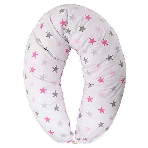 HOBEA-Germany Stillkissen XXL Lagerungskissen Schwangerschaftskissen Seitenschläferkissen groß (Sterne pink Zickzack)