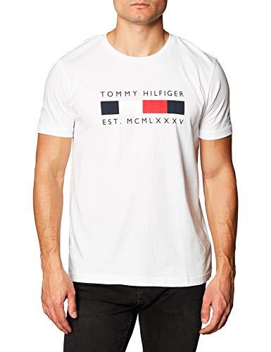 Tommy Hilfiger Herren Logo Box Stripe Tee T-Shirt, weiß, XL