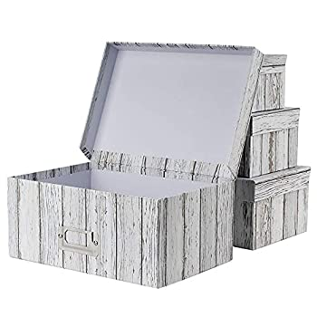 Photo Boxes Storage Storage Boxes with Lids 4 in 1 Set Water-Proof Storage Box Sets with Handles Decorative Multiple Size Storage Bins with Lids for Kids Toys/Clothes/Shoes/Office/Cosmetic/Books