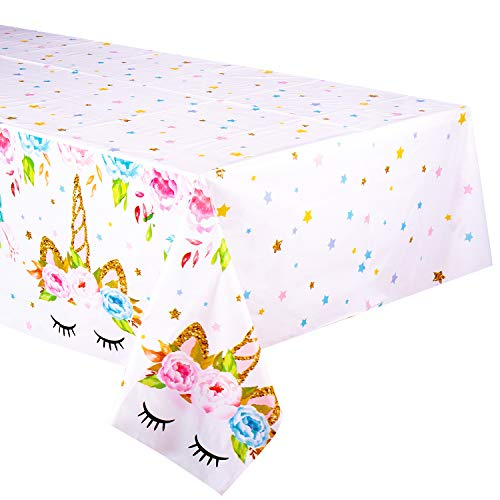 Unicorn Themed Birthday Party Decorations - Unicorn Plastic Tablecloth | 53 x 90 inches,Disposable Table Cover | Magical Unicorn Party Supplies for Girls and Baby Shower