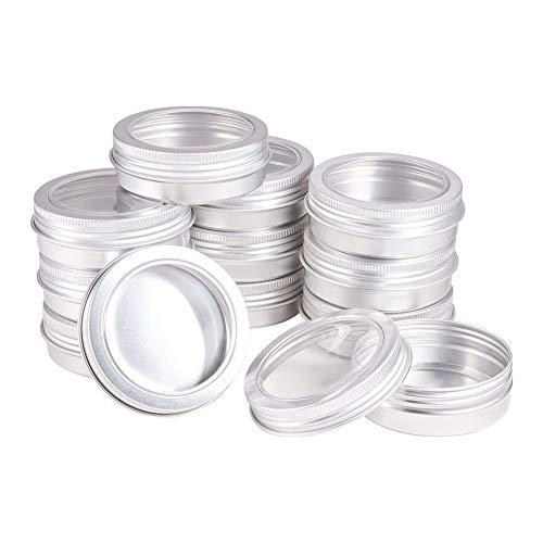 BENECREAT 25 STÜCKE 60 ml Aluminiumdosen Runde Aluminiumdosen Kosmetische Behälter mit Klarsichtfenster Schraubdeckel für DIY Handwerk Kerzencreme Make Up-Platin