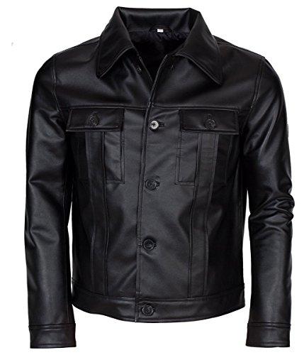 Feather Skin Männer Kleidung Elvis Presley Inspired Schwarz Rockstar Echte Lederjacke- XXL