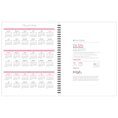 """Day-Timer Appointment Book / Planner Refill 2017, 2 Page Per Week, 8-1/2 x 11"""", Wirebound, Notebook size, Pink Ribbon (11241) Photo #7"""