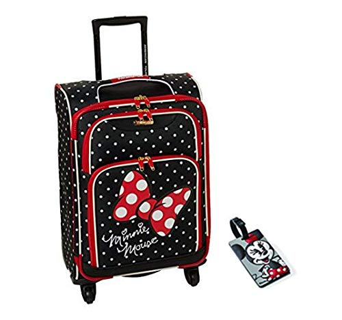American Tourister Disney Minnie Mouse Red Bow Softside Spinner 21 with Matching ID Tag