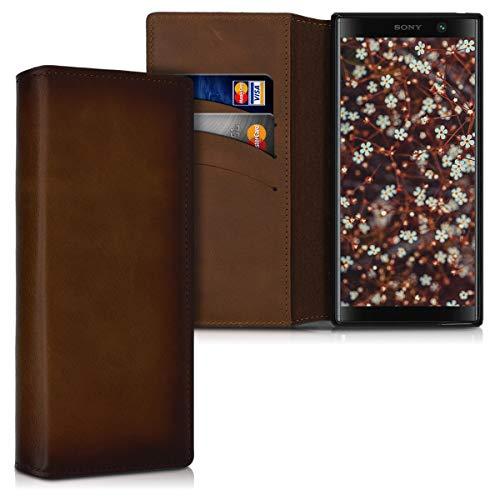 kalibri Hülle kompatibel mit Sony Xperia XA2 Plus - aus edlem Leder - mit Kartenfächern & Stand - Hülle Vintage Braun